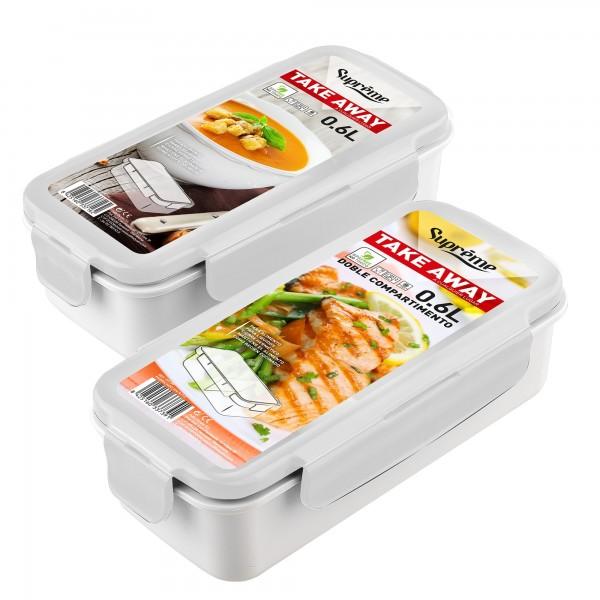 Contenedor bolsa porta-alimentos doble